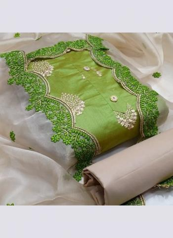 Green Semi Modal Festival Wear Cut Work Dress Material