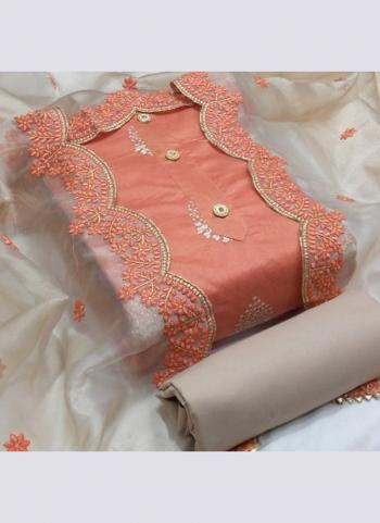 Peach Semi Modal Festival Wear Cut Work Dress Material