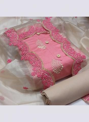 Pink Semi Modal Festival Wear Cut Work Dress Material
