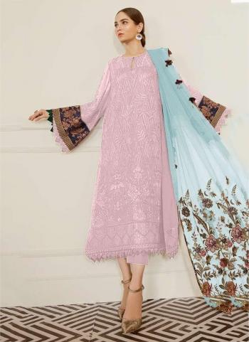Light Pink Georgette Festival Wear Embroidery Work Pakistani Suit