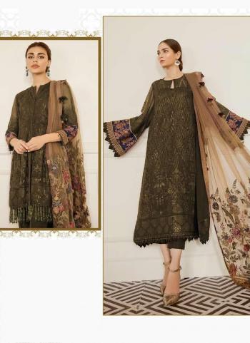 Olive Green Georgette Festival Wear Embroidery Work Pakistani Suit