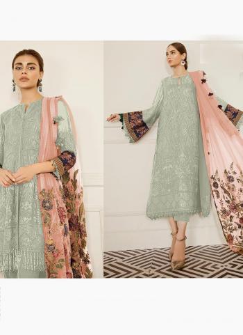 Pista Green Georgette Festival Wear Embroidery Work Pakistani Suit