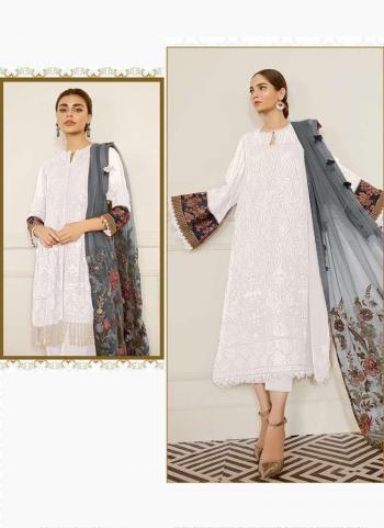 White Georgette Festival Wear Embroidery Work Pakistani Suit