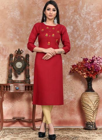 Red Heavy Cotton Office Wear Hand Work Kurti