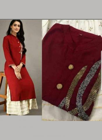 Red Jam Cotton Satin Festival Wear Hand Work Kurti With Skirt