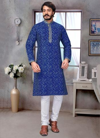 Blue Pure Silk Festival Wear Embroidery Work Kurta