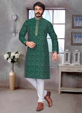 Green Pure Silk Festival Wear Embroidery Work Kurta