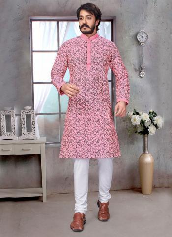 Pink Pure Silk Festival Wear Embroidery Work Kurta