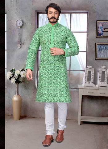 Pista Green Pure Silk Festival Wear Embroidery Work Kurta