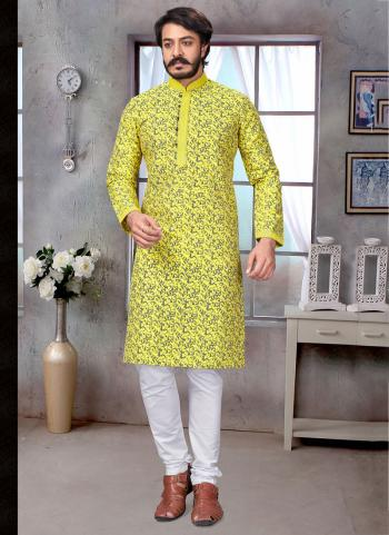 Yellow Pure Silk Festival Wear Embroidery Work Kurta