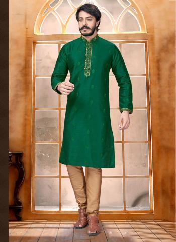 Green Pure Silk Party Wear Butti Work Kurta
