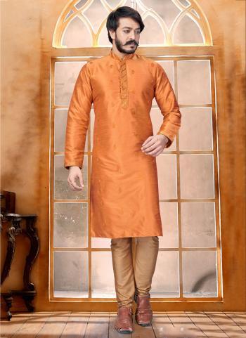 Orange Pure Silk Party Wear Butti Work Kurta