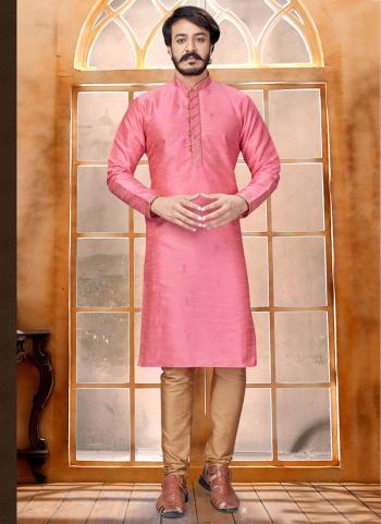 Pink Pure Silk Party Wear Butti Work Kurta