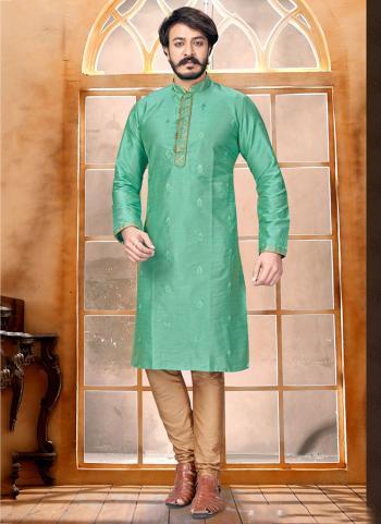 Pista Green Pure Silk Party Wear Butti Work Kurta