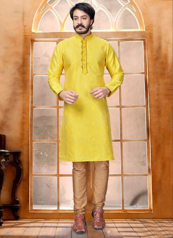 Yellow Pure Silk Party Wear Butti Work Kurta
