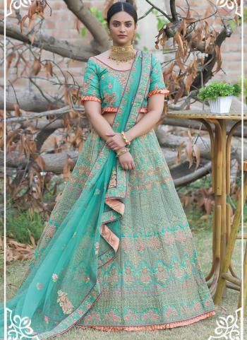 Firozi Pashmina Silk Wedding Wear Resham Work Lehenga Choli