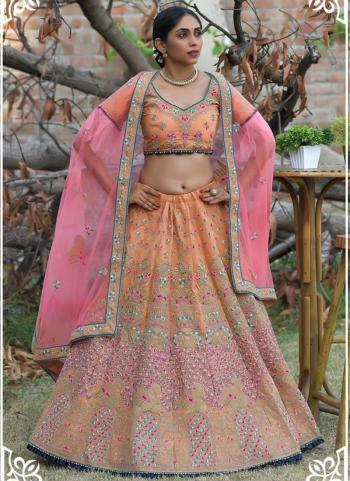 Golden Pashmina Silk Wedding Wear Resham Work Lehenga Choli
