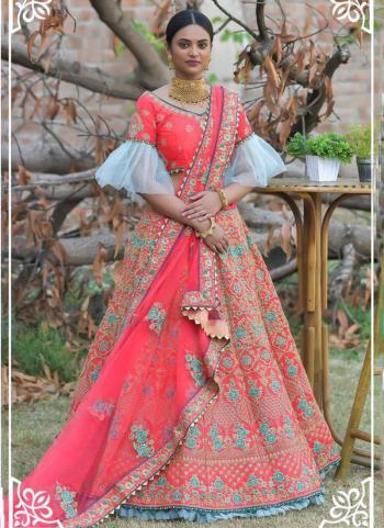 Hot Pink Pashmina Silk Wedding Wear Resham Work Lehenga Choli