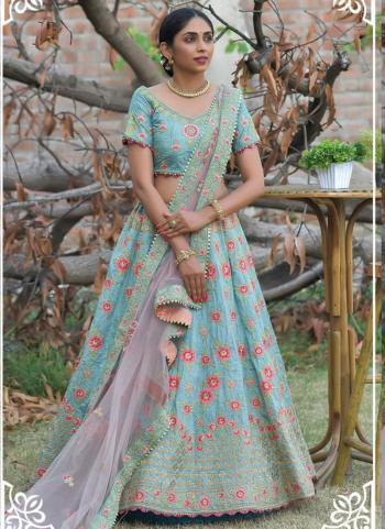 Ice Blue Pashmina Silk Wedding Wear Resham Work Lehenga Choli
