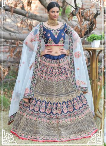 Navy blue Pashmina Silk Wedding Wear Resham Work Lehenga Choli