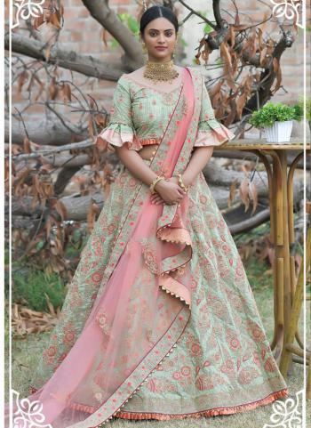 Olive Green Pashmina Silk Wedding Wear Resham Work Lehenga Choli