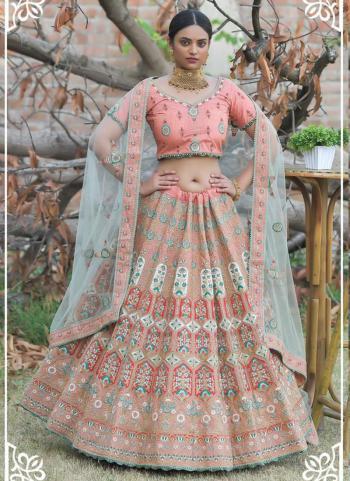 Peach Pashmina Silk Wedding Wear Resham Work Lehenga Choli