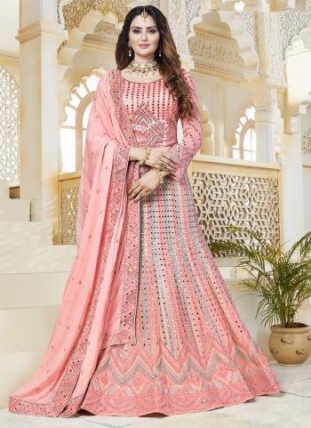 Pink Georgette Bridal Wear Embroidery Work Lehenga Choli