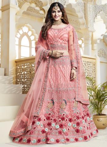 Pink Heavy Net Bridal Wear Embroidery Work Lehenga Choli