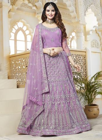 Purple Net Bridal Wear Embroidery Work Lehenga Choli