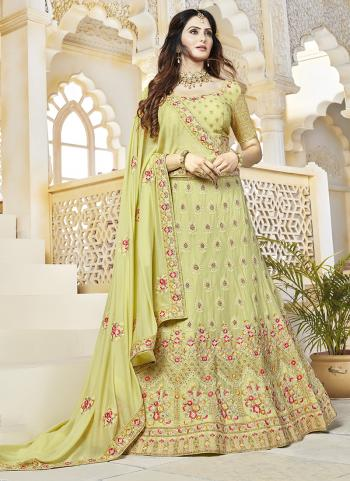 Sea Green Georgette Bridal Wear Embroidery Work Lehenga Choli