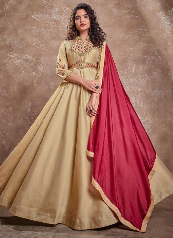 Beige Silk Party Wear Embroidery Work Gown With Dupatta