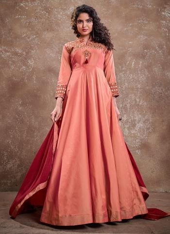 Dark Pink Silk Party Wear Embroidery Work Gown With Dupatta