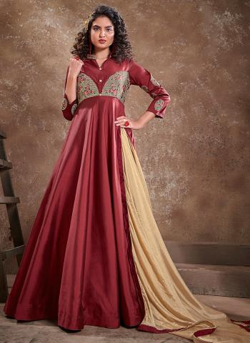Maroon Silk Party Wear Embroidery Work Gown With Dupatta