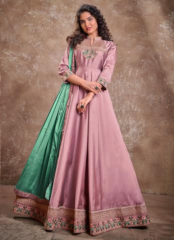 Pink Silk Party Wear Embroidery Work Gown With Dupatta