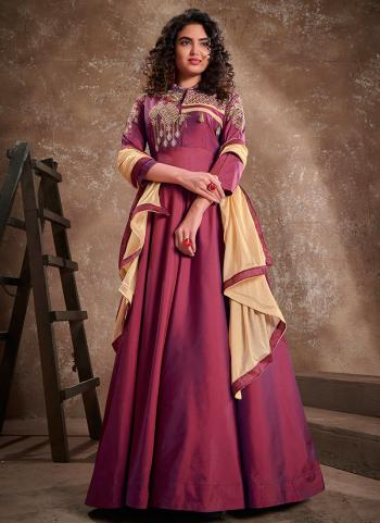 Violet Silk Party Wear Embroidery Work Gown With Dupatta