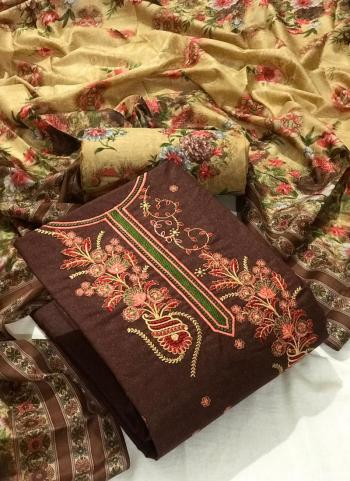 Brown Cotton Casual Wear Embroidery Work Dress Material