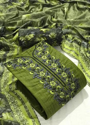 Green Cotton Casual Wear Embroidery Work Dress Material