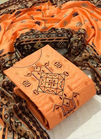 Orange Cotton Casual Wear Embroidery Work Dress Material