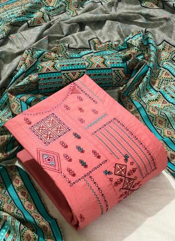 Pink Cotton Casual Wear Embroidery Work Dress Material