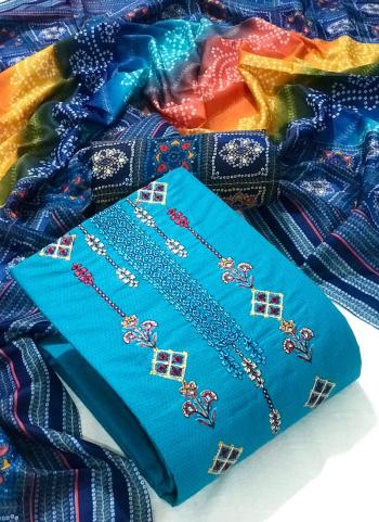Sky Blue Cotton Casual Wear Embroidery Work Dress Material