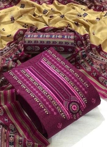 Wine Cotton Casual Wear Embroidery Work Dress Material