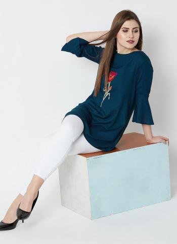Blue Rayon Casual Wear Embroidery Work Top