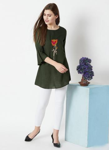 Green Rayon Casual Wear Embroidery Work Top