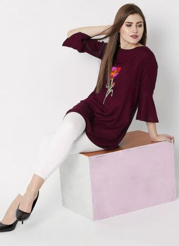 Maroon Rayon Casual Wear Embroidery Work Top