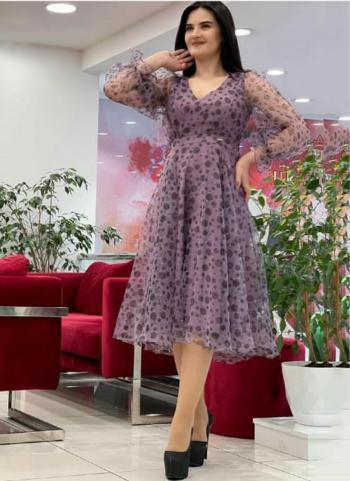 Purple Organza Party Wear Printed Work Kurti