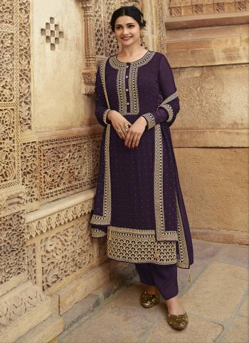 Purple Georgette Wedding Wear Swarovski Work Straight Suit