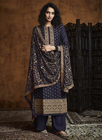 Navy blue Georgette Reception Wear Embroidery Work Palazzo Suit