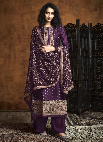 Purple Georgette Reception Wear Embroidery Work Palazzo Suit