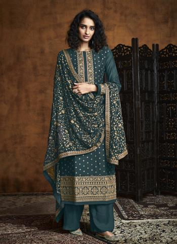 Rama Georgette Reception Wear Embroidery Work Palazzo Suit