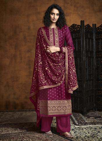 Violet Georgette Reception Wear Embroidery Work Palazzo Suit
